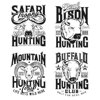 Tirages de tshirt de chasse au bison, au bélier mouflon et au buffle du cap