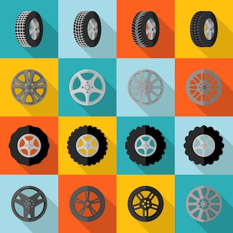 Tire icon flat