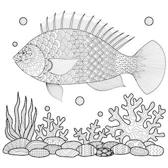 Tiré à la main de gros fonds de poissons