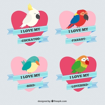 Tiré par la main de beaux oiseaux avec des coeurs