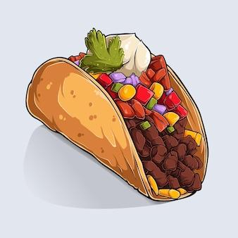 Tiré par la main de délicieux taco mexicain avec des ombres colorées et de la lumière isolé sur fond blanc