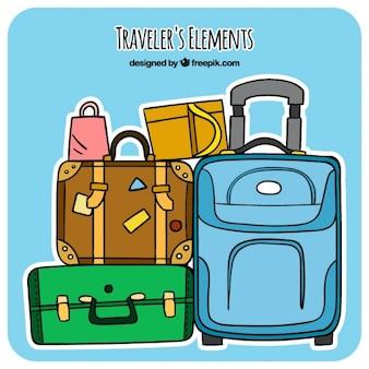 Tiré par la main pack de bagages