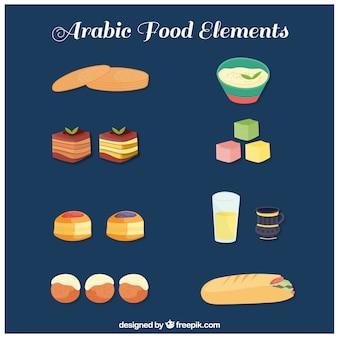 Tirée collection de la gastronomie arabe à la main