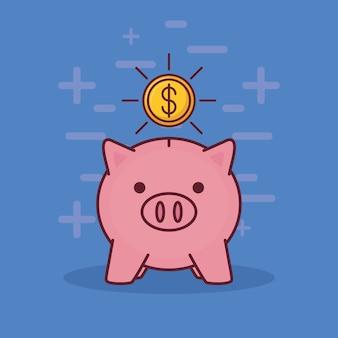 Tirelire et argent icônes connexes