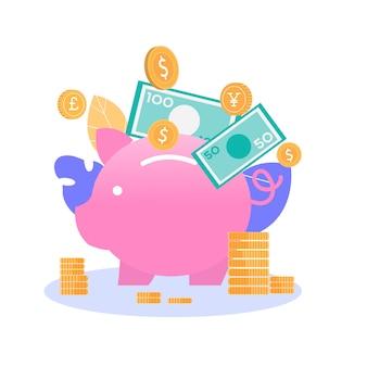 Tirelire argent stockage financière plate illustration