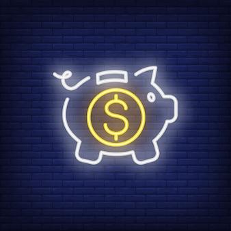 Tirelire avec pièce de monnaie dollar à l'intérieur. Élément de signe au néon. Publicité lumineuse de nuit.