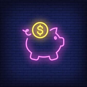 Tirelire avec pièce de monnaie du dollar. Élément de signe au néon. Nuit lumineuse