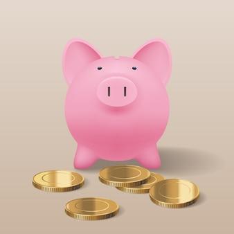 Tirelire cochon avec illustration réaliste de pièces d'or