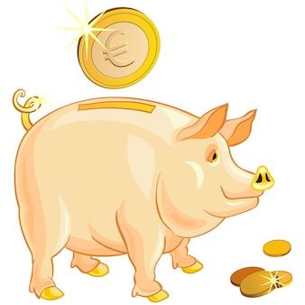 Tirelire cochon avec des pièces en euros d'or isolé sur fond blanc