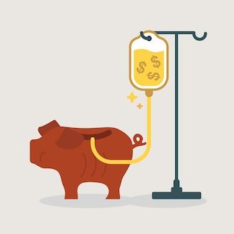 Tirelire faible obtenir une transfusion d'argent