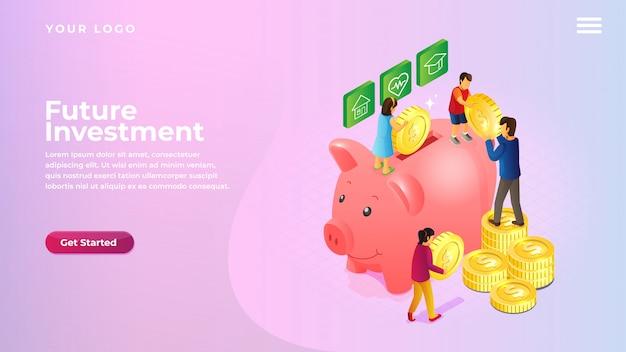 Tirelire isométrique économisant de l'argent et des pièces de monnaie pour la page de destination de site web et d'applications mobiles