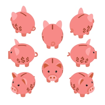 Tirelire isométrique. ensemble des tirelires cochon.