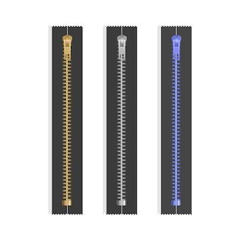 Tirettes zippées fermées réalistes. fermetures éclair métalliques. composants du vêtement accessoires en tissu à glissière