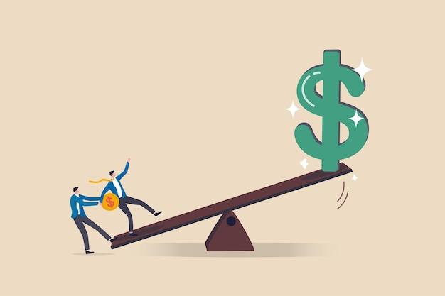 Tirez parti de l'investissement, un investisseur emprunte de l'argent ou des actions pour augmenter le concept de rendement potentiel