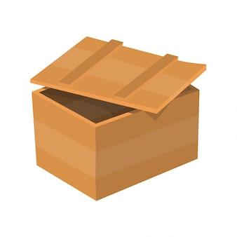 Tiroir en bois. paquet de boîte. conteneur pour livraison ou expédition. illustration isolée sur fond blanc