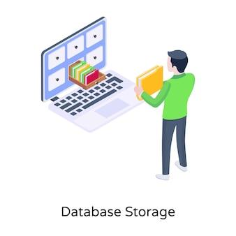 Tiroir de dossier une icône isométrique de stockage de base de données