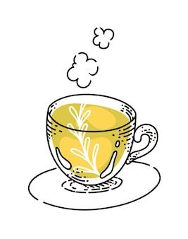 Tisane dans une tasse en verre sur un croquis de soucoupe sur fond blanc
