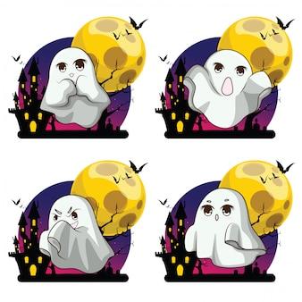 Tissu de couverture mignon whisper ghost avec un personnage fantôme blanc, fête halloween nuit de fête