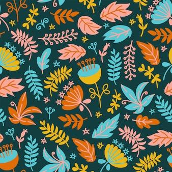 Tissu dino floral grunge seamless pattern vectoriel préhistorique