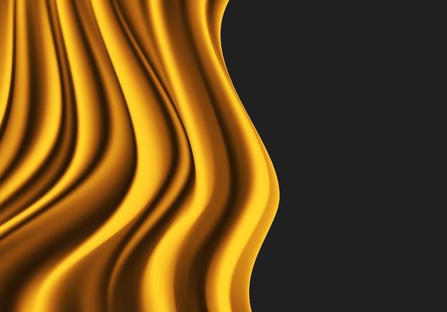 Tissu doré satin de soie vague doux sur fond gris foncé.