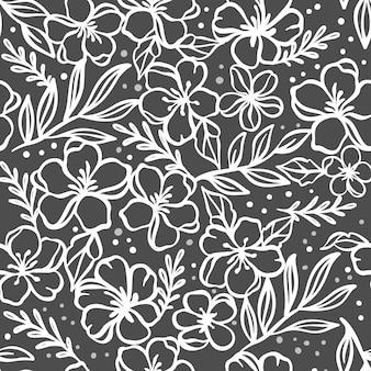 Tissu de fleurs floral monochrome seamless background avec des fleurs de pommier renoncule et des compositions de jasmin ajouré pour imprimer illustration de vecteur de dessin animé