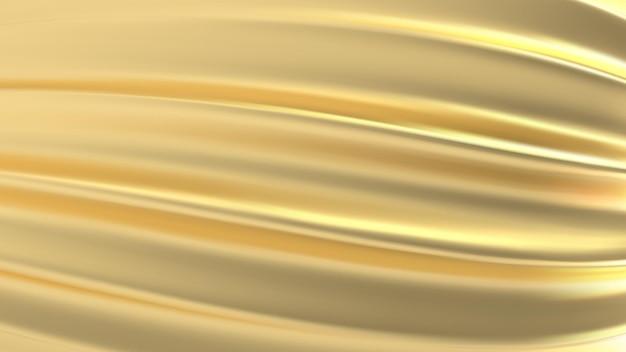 Tissu or texture réaliste 3d, soie dorée, feuille
