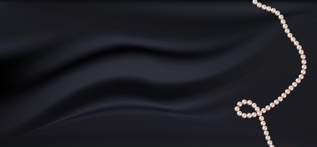 Tissu en satin de soie noir foncé réaliste avec des perles