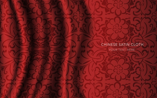 Tissu en satin de soie rouge avec motif, fleur ronde croisée courbe
