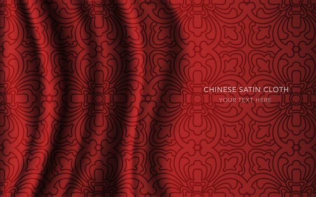 Tissu en satin de soie rouge avec motif, ligne de géométrie croisée courbe