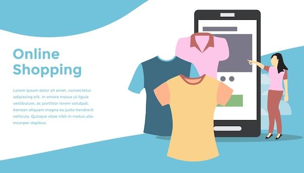 Tissu shopping illustration en ligne concept
