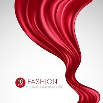 Tissu en soie volant rouge. fashibackground