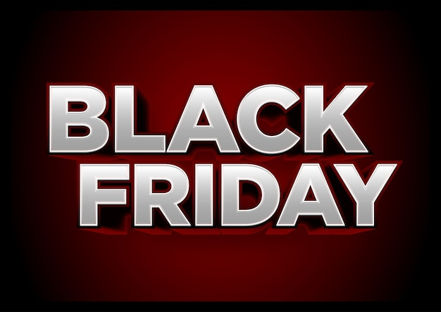 Titre black friday rouge, effet 3d
