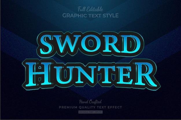 Titre du jeu bleu fantasy rpg style de police d'effet de texte premium modifiable