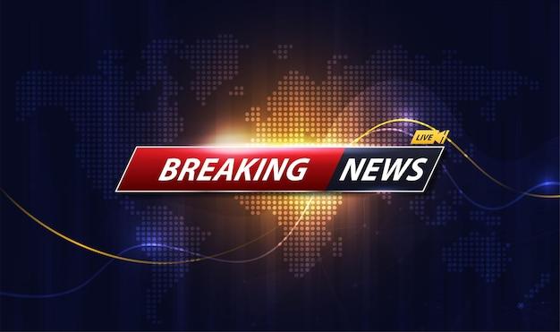 Titre du modèle breaking news avec ombre sur fond de carte du monde pour écran tv. conception de vecteur.