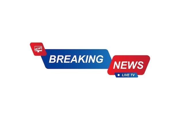 Titre du modèle breaking news pour la chaîne de télévision à écran sur fond blanc. illustration vectorielle plane eps10