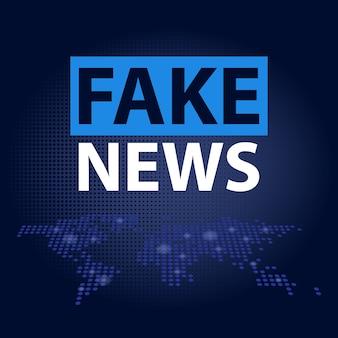 Titre de fausses nouvelles en fond de carte du monde en pointillé bleu
