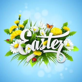 Titre pâques avec des fleurs de printemps.