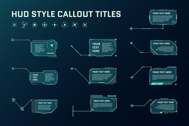 Titres de légende futuristes hud barres de flèches d'appel d'informations et modèles de cadres d'informations numériques