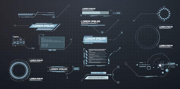 Titres des légendes. étiquettes de barre de légende, barres de boîte d'appel d'informations, informations numériques modernes. modèles de hud de boîtes d'informations numériques techniques.