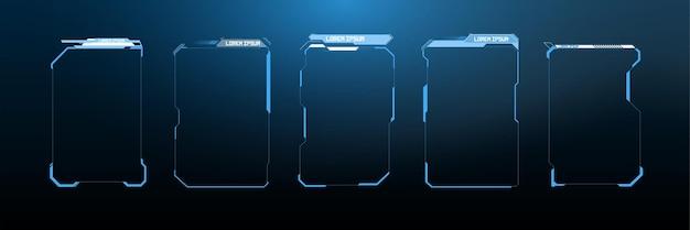 Titres des légendes. étiquettes de barre de légende, barres de boîte d'appel d'informations et modèles de mise en page de boîtes d'information numériques modernes. titres de légendes numériques hud, ui, gui, éléments d'écran d'interface utilisateur futuristes définis.