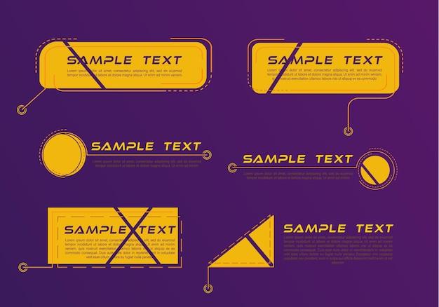 Titres de légendes numériques. ensemble de modèle de bannière de technologie hud.