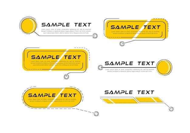 Titres de légendes numériques ensemble de modèle de cadre de science-fiction futuriste hud élément de mise en page pour l'infographie de la brochure web bannières modernes du tiers inférieur pour la présentation isolée sur jaune