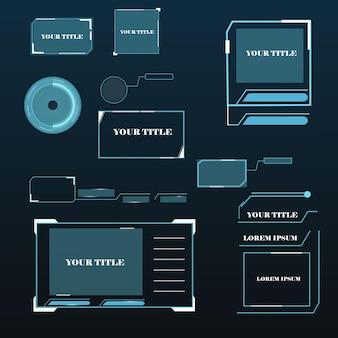 Titres de légendes numériques. ensemble de modèle de cadre de science-fiction futuriste hud. élément de mise en page pour le web, la brochure, la présentation ou l'infographie.