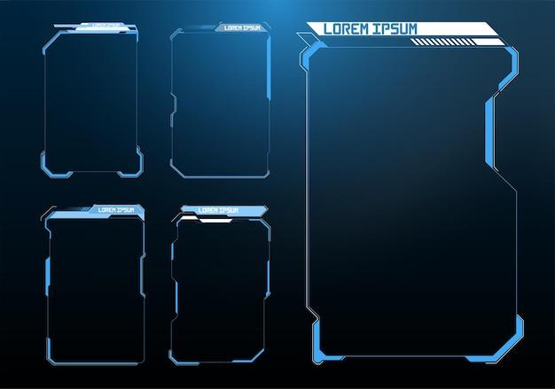 Titres de légendes numériques. ensemble de modèles, bannières modernes du tiers inférieur pour la présentation. ensemble d'éléments d'écran d'interface utilisateur de cadre futuriste hud, ui, gui. ensemble avec communication d'appels.