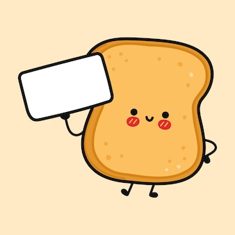 Toast drôle mignon avec affiche