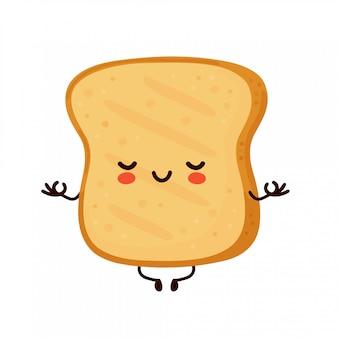 Toast drôle mignon mignon médite. conception d'icône illustration de personnage de dessin animé.