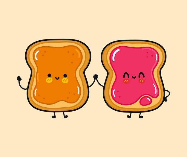 Toast heureux drôle mignon avec l'arachide et le pain grillé avec le caractère de confiture