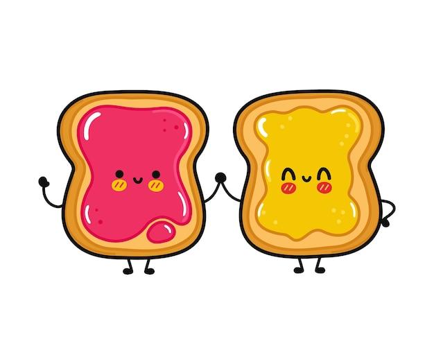 Toast heureux drôle mignon avec de la confiture et du pain grillé avec du miel