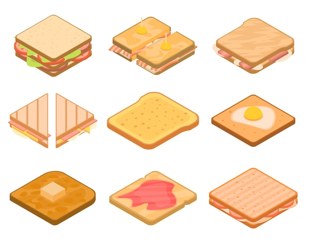 Toast icons set, style isométrique