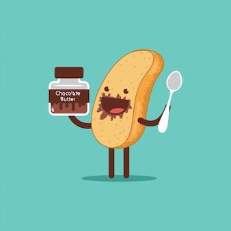 Toast mignon avec du beurre au chocolat et une cuillère. personnage de dessin animé de vecteur de pain drôle isolé.